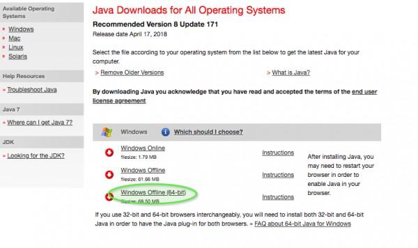 download java 7 45 64 bits